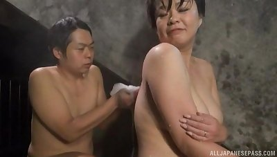 Chubby Japanese girl gets licked by a stranger in the conjoin