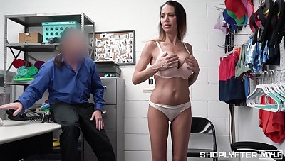 Impeccable shoplifter in the altogether porn with a busty MILF