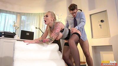 Tattooed Blondie Enjoys Passionate Fucking - Kayla Green, Michael Gulp down And Michael Vegas