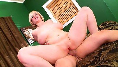 Blonde Chikita shows off her big boobs plus bush