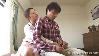 Lucky man gets his dick pleasured by a beautiful Japanese girl