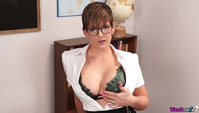 Busty teacher Hannah Brooks gives a blowjob and gets facial nigh hot pov scene