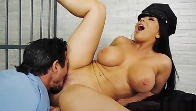 Bosomy wife fucks police guard in front be proper of say no to worthless husband
