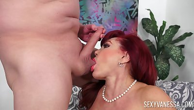 Older lady Sexy Vanessa in stockings footjob and cum on face