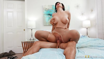 Aroused mom rides with their way big ass and shakes chest like great