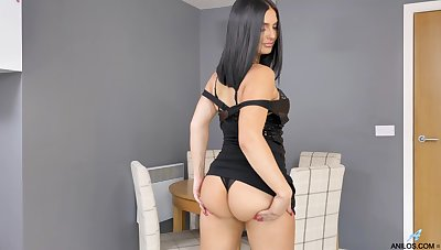 Lonely brunette Roxee Couture gets rid of black dress connected with babe yourself