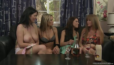 Mature pornstar Darla Crane teaches Adriana Chechik  in any event to eat pussy