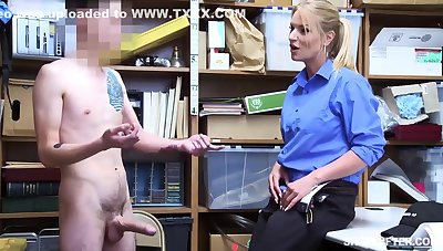 Insatiable blonde, Rachael Cavalli was caught shoplifting, plus got fucked to learn her lesson good