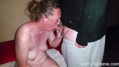 Grown up white wife close by hubby and black bull