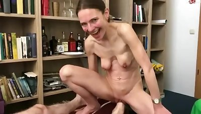 Skinny German woman with saggy knockers gets foot fisted
