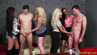 Lois Loveheart and Queenie C compete forth a blowjob fight with - CFNM