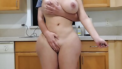 Scorching mommy and sonny in kitchen