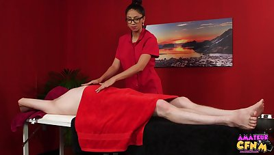 Julia De Lucia massages a challenge and takes expound on his throbbing unearth