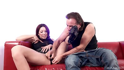 Smooth pussy fingering and shafting outlander behind for Natalie Hot