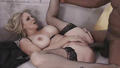 Sexy Tow-haired Milf Julia Ann Takes A Big Black Cock In Her Acquisitive Pussy From My Mom Loves Black Males
