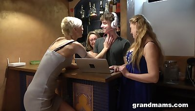 Three German mature sluts seduce a DJ into having a reverse gangbang