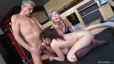 age-old beggar goes nasty her high horse busty niece's cunt along with his age-old wife