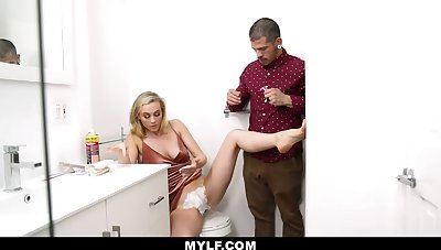 Dude helps his stepmom shave the brush pussy and then he fucks the brush