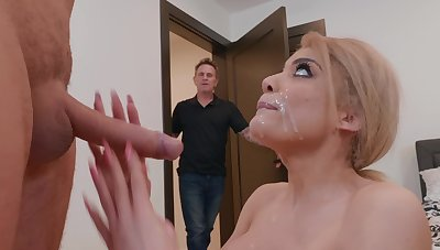 Wife throats and swallows while her economize on is around the other room