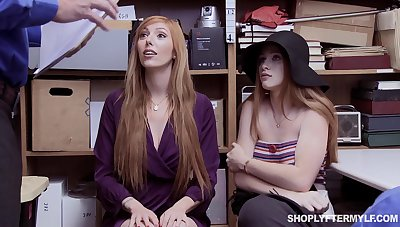 Red haired stepmom and stepdaughter are punished for shoplifting