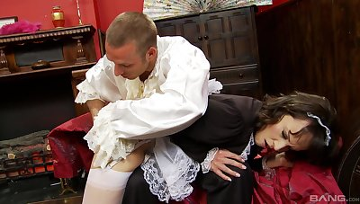 the man ass fucks the hot maid after rubbing her tits and gagging her