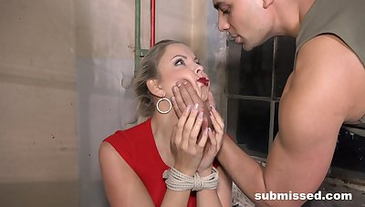 Submissive blonde gets along to dick in both holes while savage promised