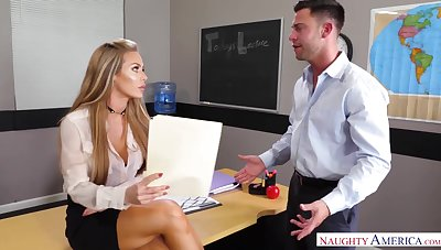 Lascivious slutty office secretary Nicole Aniston rides undaunted cock jilted